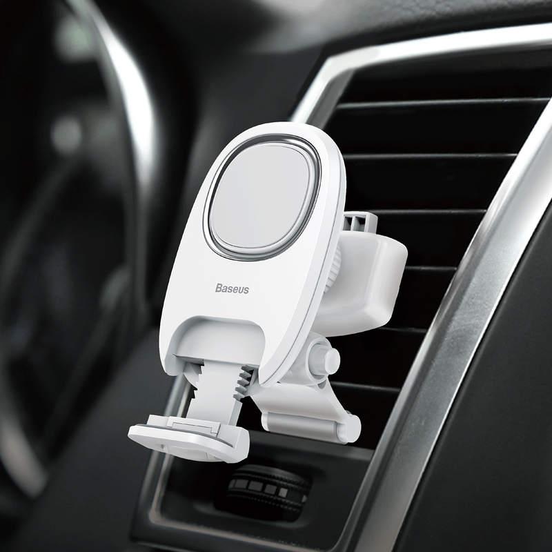 Magnetický stojan do ventilátora auta s nožičkou v bielej farbe