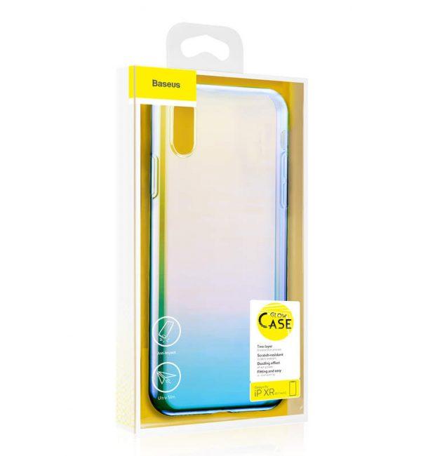 Ochranný dúhový silikónový obal pre iPhone XR v modrej farbe
