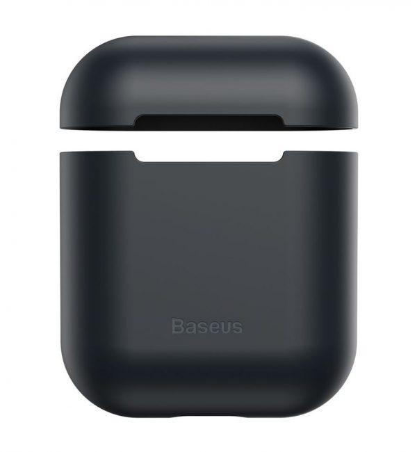Ochranný silikónový obal BASEUS pre Apple Airpods v čiernej farbe