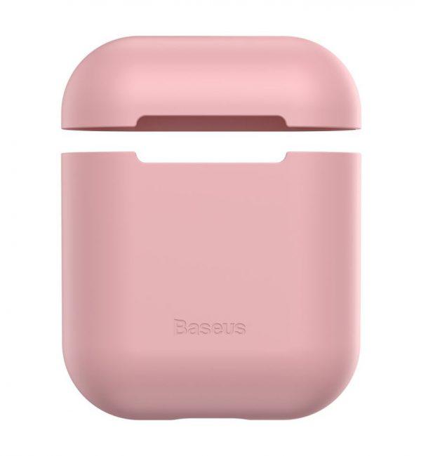 Ochranný silikónový obal BASEUS pre Apple Airpods v ružovej farbe,