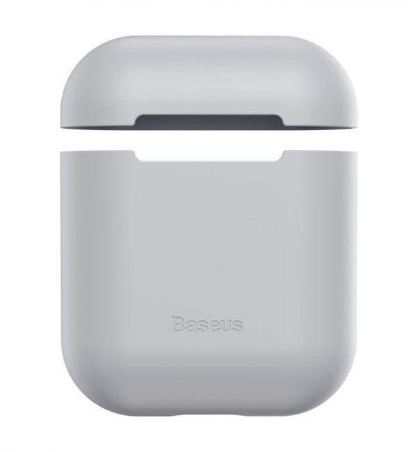 Ochranný silikónový obal BASEUS pre Apple Airpods v šedej farbe
