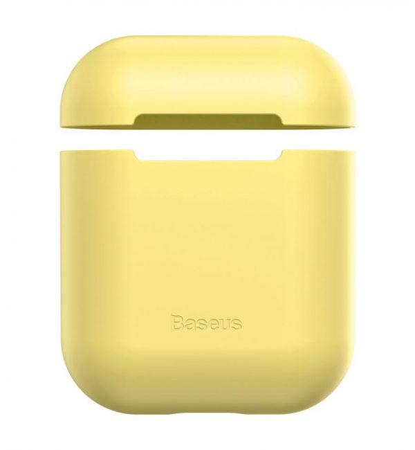 Ochranný silikónový obal BASEUS pre Apple Airpods v žltej farbe..