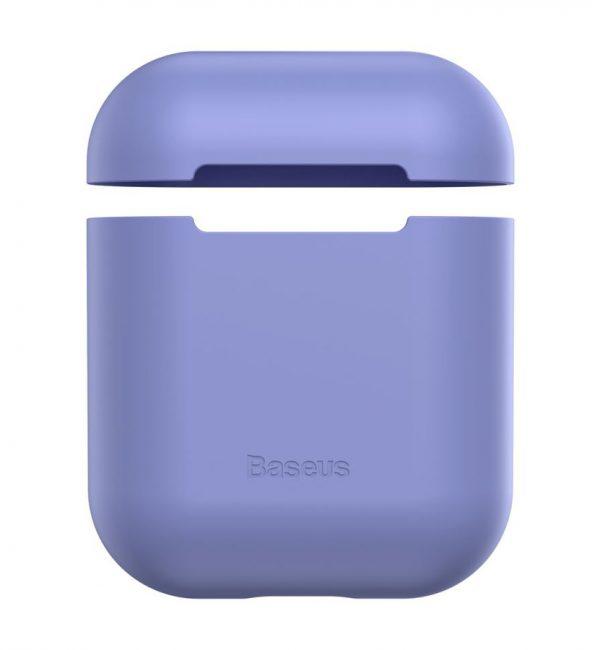 Ochranný silikónový obal BASEUS pre Apple Airpods vo fialovej farbe
