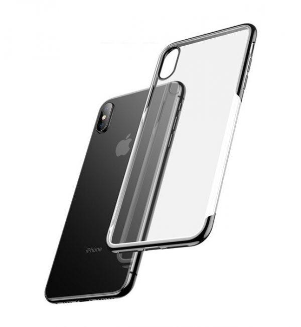 Ochranný silikónový štýlový obal pre iPhone X v space gray farbe,