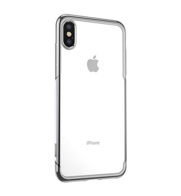 Ochranný silikónový štýlový obal pre iPhone X v striebornej farbe,