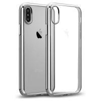 Ochranný silikónový štýlový obal pre iPhone X v striebornej farbe.