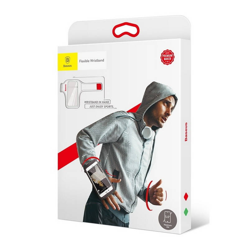 Športové púzdro na zápästie:predlaktie pre telefóny do 5.0 palcov, červená farba