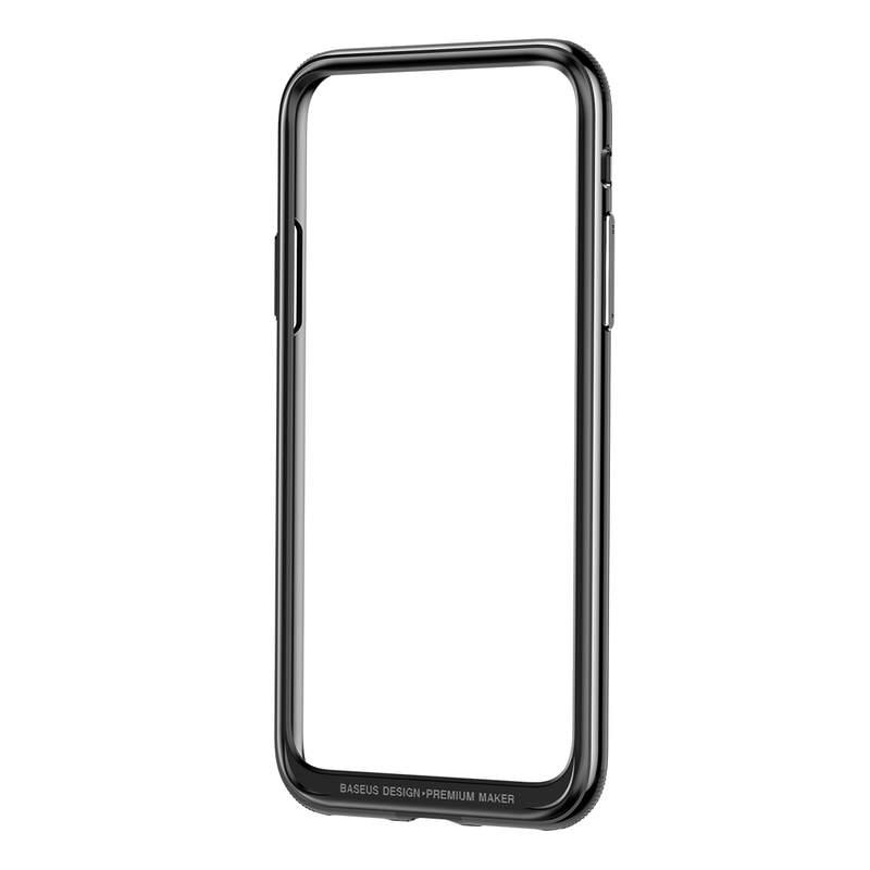 Štýlový platinový bumper pre iPhone X v space gray farbe.,