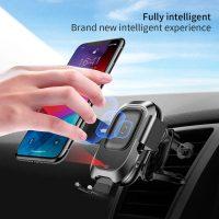 Elektrický držiak do auta a bezdrôtová nabíjačka so infračerveným senzorom .