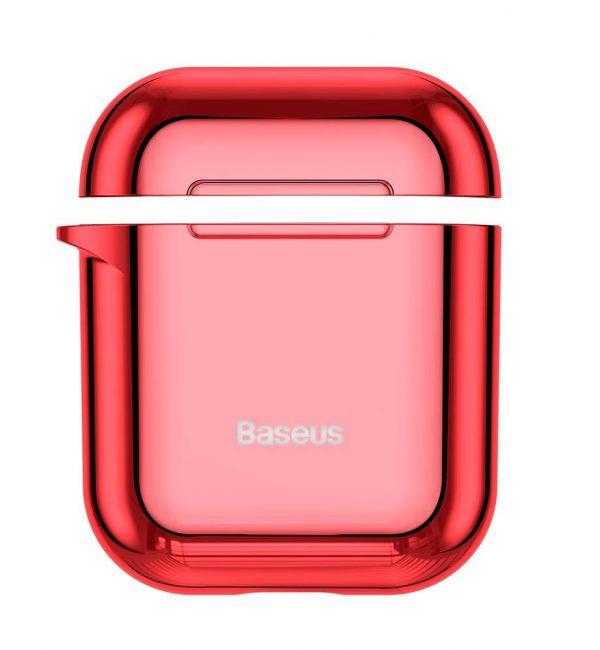 Ochranné púzdro BASEUS pre Apple Airpods v lesklej červenej farbe-
