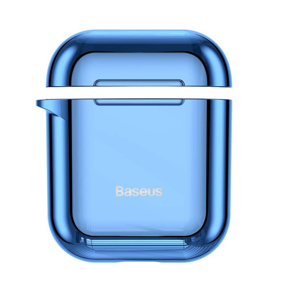 Ochranný obal BASEUS pre Apple Airpods v lesklej modrej farbe
