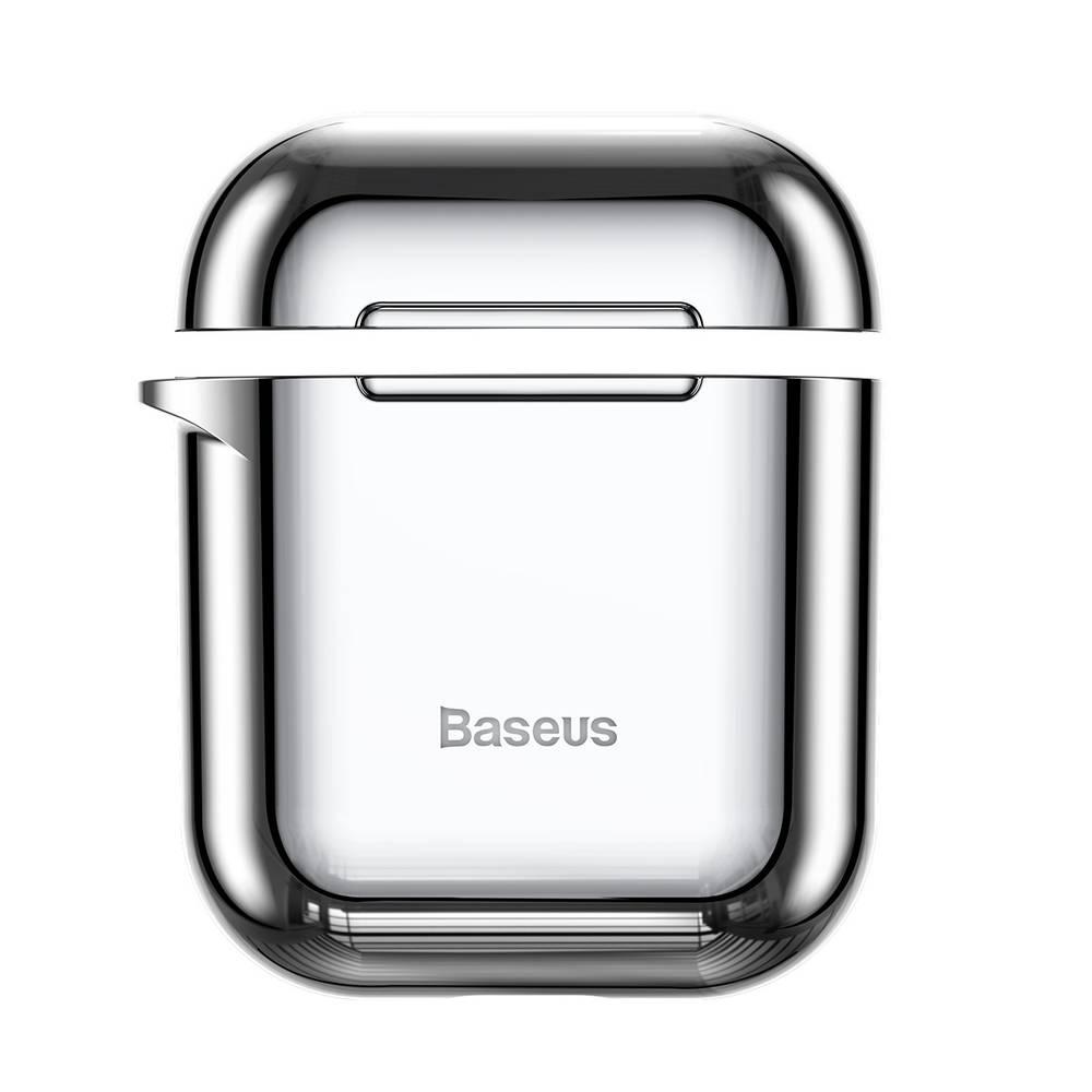 Ochranný obal BASEUS pre Apple Airpods v lesklej striebornej farbe