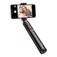 Selfie tyč so statívom s bluetooth v čierno červenej farbe