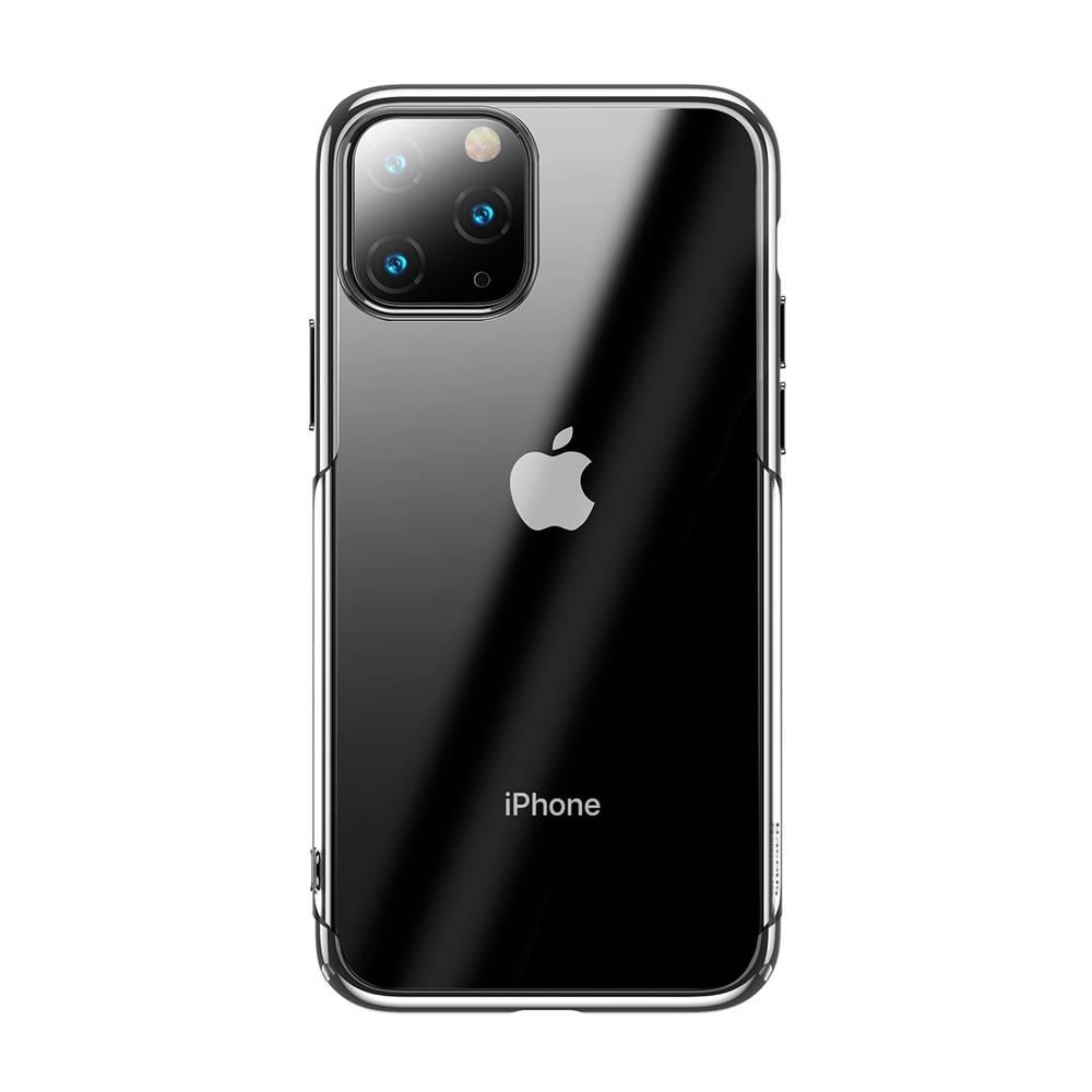 Ochranný tvrdý obal pre iPhone 11 Pro v lesklej striebornej farbe.