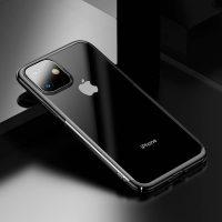 Ochranný tvrdý obal pre iPhone 11 s lesklými v lesklej čiernej farbe. Obal tvorí tvrdý polyuretán, ktorý je odolné voči poškriabaniu-