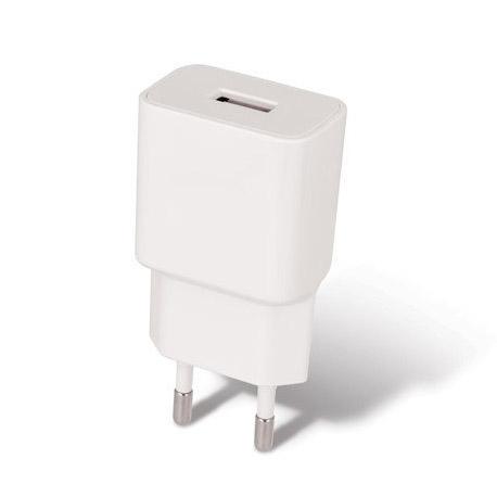 Sieťová USB nabíjačka SETTY, 2.4A + micro USB kábel 1 meter v bielej farbe