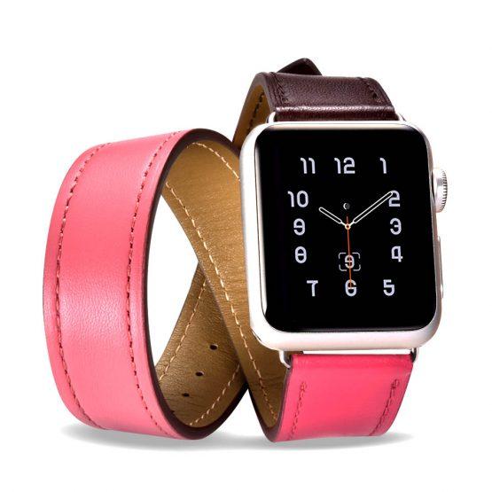 Kožený náramok pre Apple Watch iCarer, Hermes, Hovädzia koža, Hermes Coffee/Rose, 38mm / 40mm