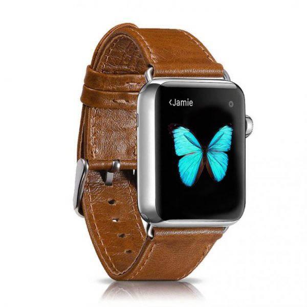 Kožený náramok pre Apple Watch iCarer, Hovädzia koža, Leather Series Light Brown, 38mm